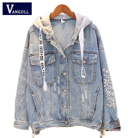 Embroidery Beading Hood Denim Jacket RI