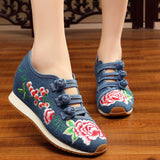 Shoes Flower Embroidered Flat Platform