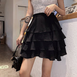 high waist 4 layers ruffled cake mini skirt