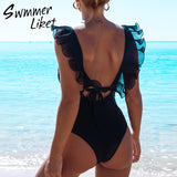 High cut ruffled mesh swimsuit one piece RI