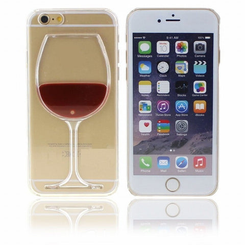 Wine Beer Glass Transparent Protective Case for iPhone 5 5S SE 6 6S 7 Plus Liquid Shell Hard Back Cover Mobile Phone Accessories