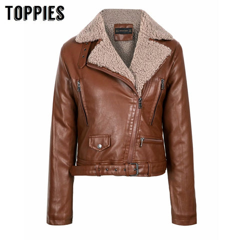 Faux Leather Sherpa Fleece Jacket RI