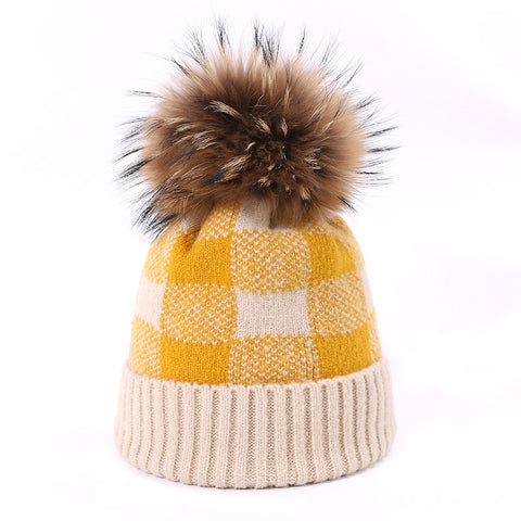 Winter Fur Pompon Plaid Knitted Cap Beanie Hat SE