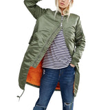 jacket female padded long basic coats military outerwear