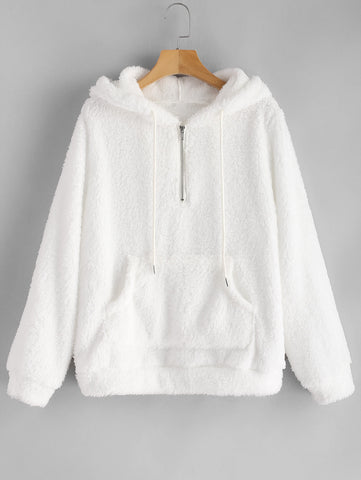 Half Zipper Pocket Fluffy Hoodie RI