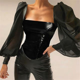Aesthetic Shirt Chiffon Puff Sleeve Leather Square Collar Tops SE