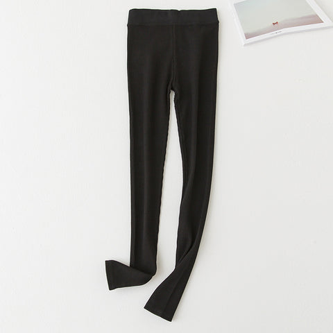 Rib Cotton Spandex Stretch Leggings