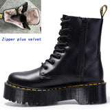 Leather Ankle Motorcycle Thick Heel Platform Martens Boots SE