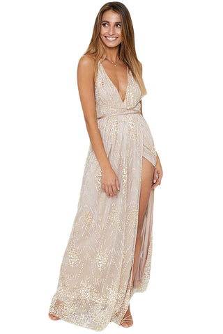 Glitter Deep V Neck Mesh Slit Maxi Dress RI