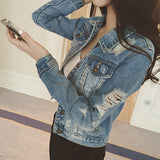 Jacket Denim Coat Casual Outerwear Tops Autumn Long Sleeve Frayed Vintage