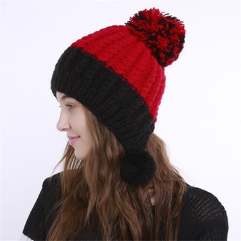 Knit Fake Wool Beanie Color Block Hat SE