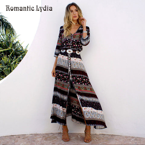 da329e38650 Women Long Floral Wrap Dress Maxi Floor Length Casual Split Retro Summer  Dresses