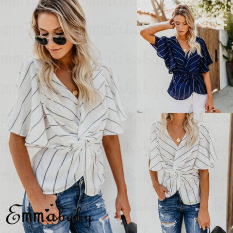Women's Clothing Sweet-Tempered 2018 Sexy Women Fashion Striped Vogue Shirt Off Shoulder Blouse Sexy Club Beach Bandage Casual Kimono Hipster Tumblr Harajuku Elegant And Graceful