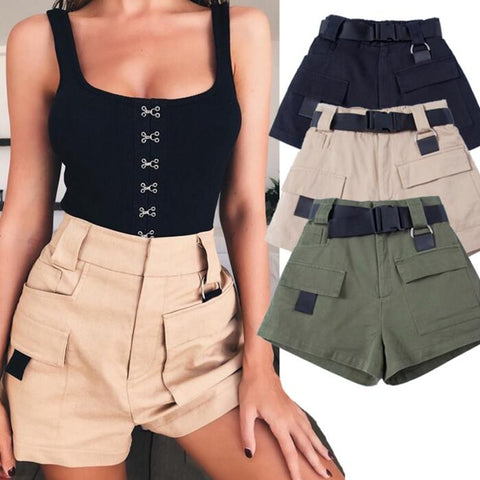 Military Belt Army Green Pocket Short Pants SE