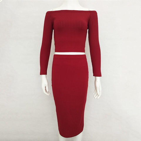 Knitted Off The Shoulder Long Sleeve Bodycon Skirt Two Piece Set RI