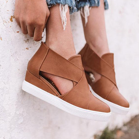 Platform Leather Casual Cut Out Hollow Zipper Ankle Boots SE