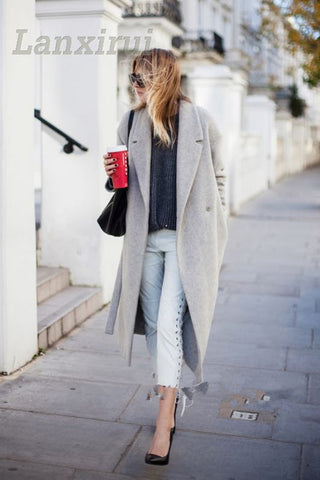 Grey Wool Oversize Long Coat RI