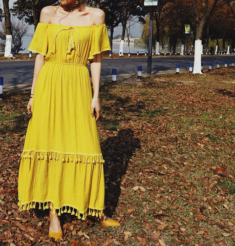 3e8f49b6f5b1f Off Shoulder Bohemian Tassels Yellow Long Dress SE