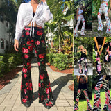Stretch Long Floral Flare Wide Leg Bell Bottom Hippie Trouser Pants
