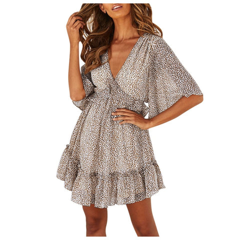 Sleeveless Leopard V Neck Split Ruffle Boho Mini Dress SE