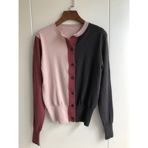 Color Block Cardigan Knit Long Sleeve Sweater SE