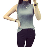 Turtleneck Knitted Tanks tops