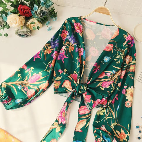 Printed Big Flowers Shirts V Collar Long Sleeve Bow Top SE
