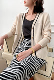 Long Sleeve Knitted Cable Knit Cardigan Sweater SE