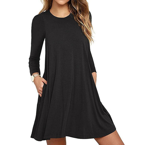 Long Sleeve Pocket Casual Loose T-Shirt Simple Mini Dress