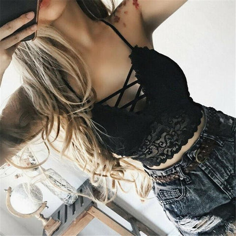 Lace Strappy Sleeveless Crop Tops RI
