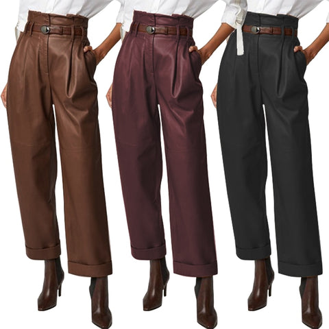 Button Zip Plus Size Wide Leg Leather Pants RI