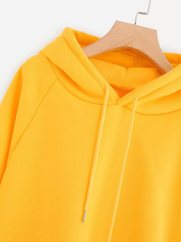 4a34d39caf6 Yellow Oversize Long Sleeve Pocket Hoodie – deevybuy