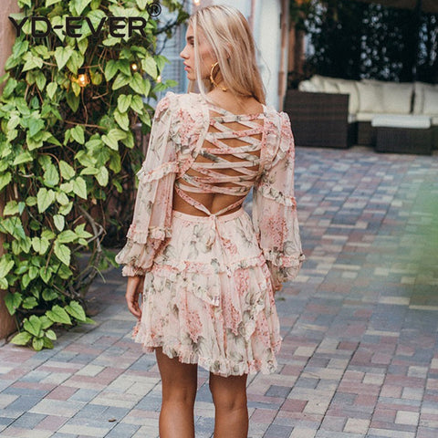 V-neck Backless Lace Up Long Sleeve Floral Print Mini Dress
