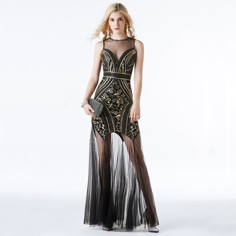 Black Gold Sequin Beading Long Evening Dress SE