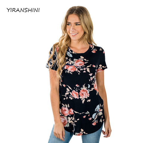 Short Sleeve Flower Print T-shirts Hollow Out Tops