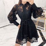 hollow lantern sleeve Embroidered lace A line dress SE