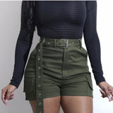 Green High Waist Trousers Bow Tie Elastic Shorts Pants