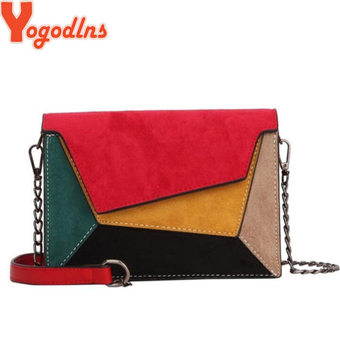 Retro Matte Patchwork Crossbody Chain Strap Bag SE