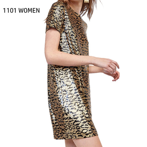 leopard Print O-neck sequin short sleeve mini dress SE