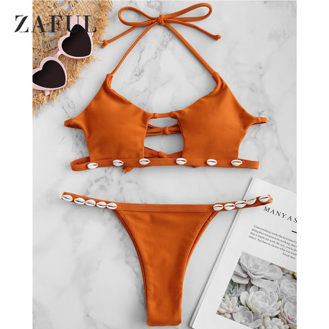 Shell Halter Cut Hollow Out Bikini RI