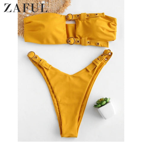 Cutout Top Padded String Side High Leg Bikini RI