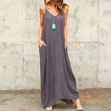 Summer Boho V-neck Sleeveless Long Maxi Dresses