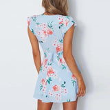 Bow Tie Short Sleeve Slim Floral Print Mini Dress