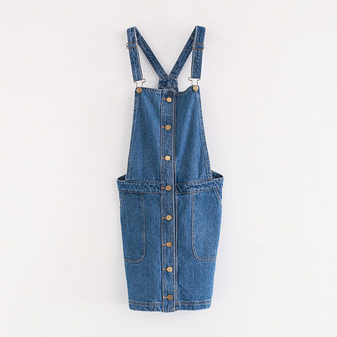 Kpop Pocket Suspender Denim Dress Overall