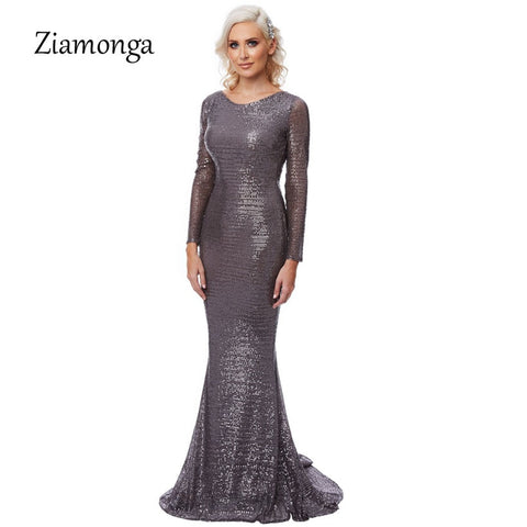 f4b1fb940145 Black Grey Sequined O-Neck Maxi Long Sleeve Bodycon Glitered Backless Dress