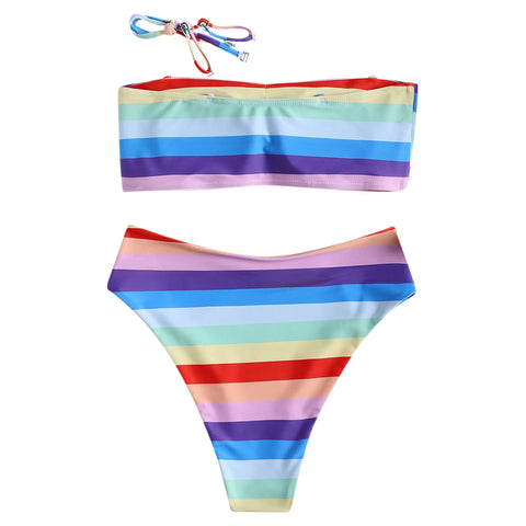 f8a0715a7f4e6 Sexy Strip High Waist Thong Swimwear Bikinis Rainbow Beach – deevybuy