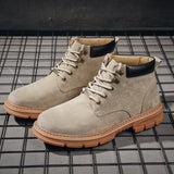 men outdoors desert genuine leather lace up platform ankle boot SE