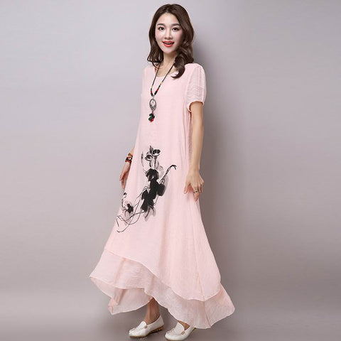 dress fashion cotton linen vintage casual summer