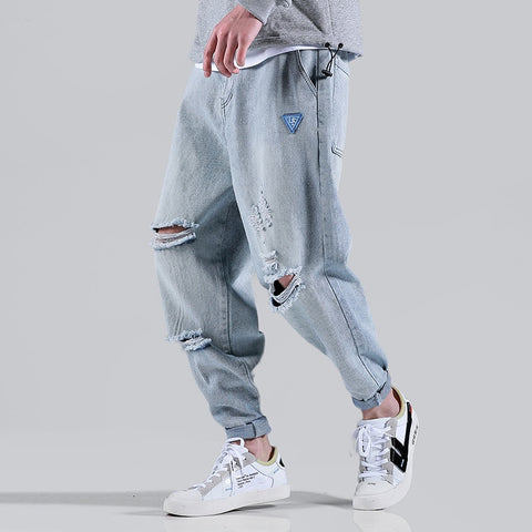men loose harem pants ripped jeans RI
