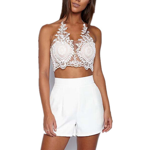 Lace flower white black gold halter Camis Tank Sleeveless Crop Top